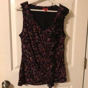 Elle black/floral sleeveless blouse.  Size L
